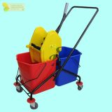 DOUBLE MOP BUCKET C/W PLASTIC FRAME Down Press